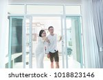 young of new couple walking to... | Shutterstock . vector #1018823146