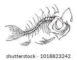 angler fish skeleton mascot.... | Shutterstock .eps vector #1018823242