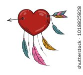 vector red indian heart with... | Shutterstock .eps vector #1018825828