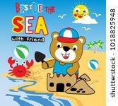 summer holiday animal cartoon... | Shutterstock .eps vector #1018825948