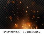 red fire sparks vector flying... | Shutterstock .eps vector #1018830052