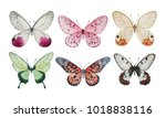 Stock photo collection of watercolor butterflies isolated illustrations 1018838116