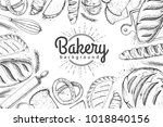 bakery background. top view of... | Shutterstock .eps vector #1018840156