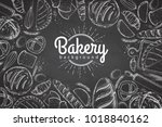 chalk drawing bakery background.... | Shutterstock .eps vector #1018840162