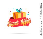 super offer shopping gift box | Shutterstock .eps vector #1018845076