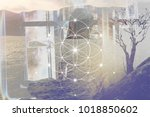 double exposure art. woman in... | Shutterstock . vector #1018850602