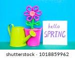 colorful plasticine flower in a ...   Shutterstock . vector #1018859962