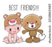 cute cartoon baby in a bear hat ... | Shutterstock . vector #1018865485