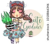 cute gardener little girl with... | Shutterstock .eps vector #1018866346