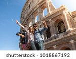 three young friends tourists... | Shutterstock . vector #1018867192