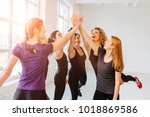 group of five sporty ladies... | Shutterstock . vector #1018869586