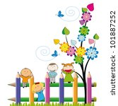 small and happy kids on... | Shutterstock .eps vector #101887252