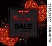 valentines day sale banner with ... | Shutterstock .eps vector #1018872982