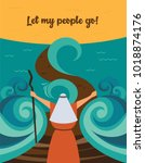 moses splitting the red sea and ... | Shutterstock .eps vector #1018874176