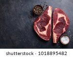 raw fresh marbled meat steak... | Shutterstock . vector #1018895482