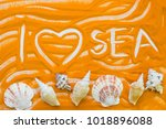 i love sea inscription on an... | Shutterstock . vector #1018896088