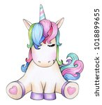 cute sitting unicorn cartoon ...   Shutterstock . vector #1018899655