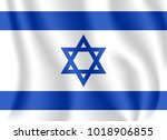 flag of israel. realistic... | Shutterstock .eps vector #1018906855