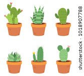 set collection of six different ... | Shutterstock .eps vector #1018907788