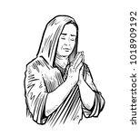 woman folded her hands for... | Shutterstock .eps vector #1018909192