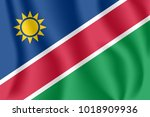 flag of namibia. realistic...   Shutterstock .eps vector #1018909936