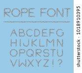 nautical rope font. light... | Shutterstock .eps vector #1018910395