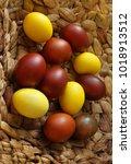 easter eggs  in the basket for... | Shutterstock . vector #1018913512
