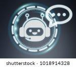 chatbot illustration on grey... | Shutterstock . vector #1018914328
