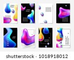 set of abstract bright colorful ... | Shutterstock .eps vector #1018918012