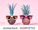 tropical pineapple and coconut. ... | Shutterstock . vector #1018919722