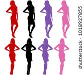 sexy woman silhouettes in... | Shutterstock .eps vector #1018927855