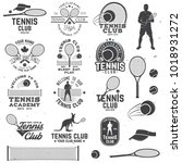 set of tennis club badges with... | Shutterstock .eps vector #1018931272