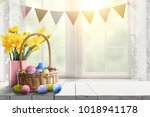 easter table background of free ... | Shutterstock . vector #1018941178