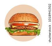hamburger. fast food. engraving ... | Shutterstock .eps vector #1018941502
