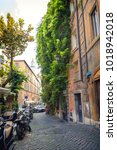 romantic alley in old part of...   Shutterstock . vector #1018942018