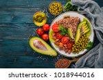 healthy food. buckwheat  cherry ... | Shutterstock . vector #1018944016