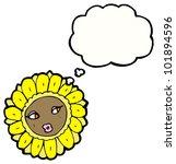 cartoon pretty flower face | Shutterstock . vector #101894596