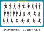 collection set of walking and... | Shutterstock .eps vector #1018947376
