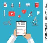 pharmaceutics banner set.... | Shutterstock .eps vector #1018948462