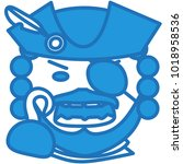 emoji with pirate captain with... | Shutterstock .eps vector #1018958536