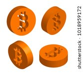 three dimensional sign bitcoin. ... | Shutterstock .eps vector #1018959172
