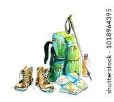 watercolor hiking walking... | Shutterstock . vector #1018964395