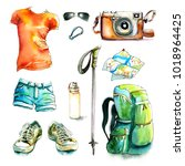 watercolor hiking walking... | Shutterstock . vector #1018964425
