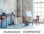 creative artist workplace room... | Shutterstock . vector #1018964542
