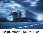 truck run on road ... | Shutterstock . vector #1018971205