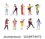 collection of singers with... | Shutterstock .eps vector #1018974472