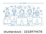 smiling online advisors wearing ... | Shutterstock .eps vector #1018974478
