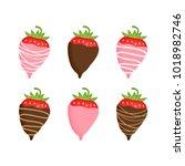 sweet strawberries covered in... | Shutterstock .eps vector #1018982746