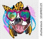 cartoon dog print. fun poster.... | Shutterstock .eps vector #1018985125