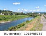 the asuwa river in fukui city ... | Shutterstock . vector #1018985158